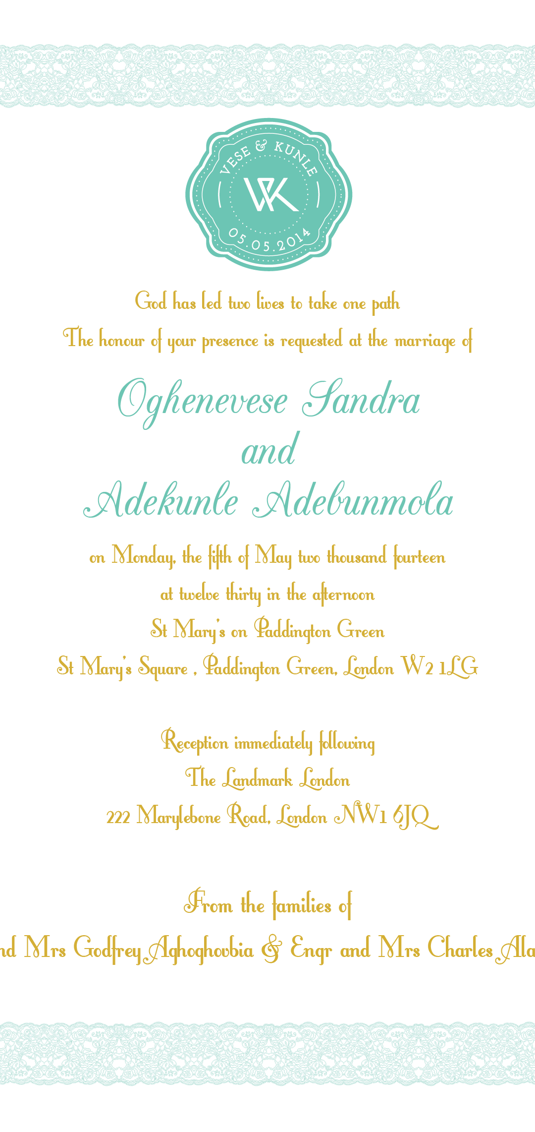 Vese & Kunle's Wedding Invitation