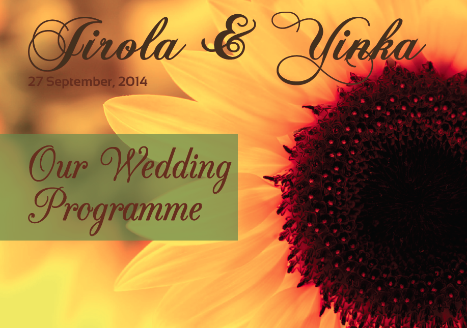 Jirola and yinka wedding programme